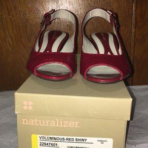Naturalizer Voluminous Red Shiny Slingback Sandals